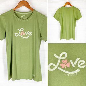 Life is Good Top M Green Lucky in Love Clover